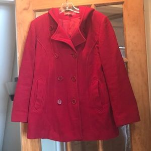 Anne Klein Red Wool pea coat with hood